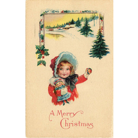 Vintage Christmas Postcard Little Girl with Doll 1920