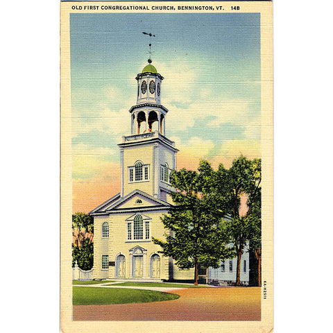Bennington Vermont First Congregational Church Vintage Postcard (unused) - Vintage Postcard Boutique