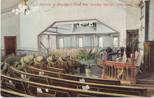 Conneaut Ohio Baptist Church Interior Vintage Postcard - Vintage Postcard Boutique