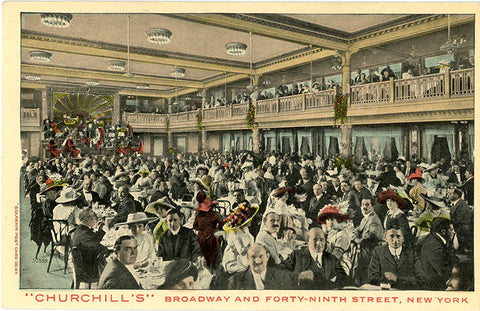Churchill's Restaurant Cabaret Club New York City Broadway & Forty-Ninth Vintage Postcard (unused)