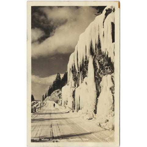 Clarksfork Idaho Winter Highway RPPC Vintage Postcard 1944 - Vintage Postcard Boutique