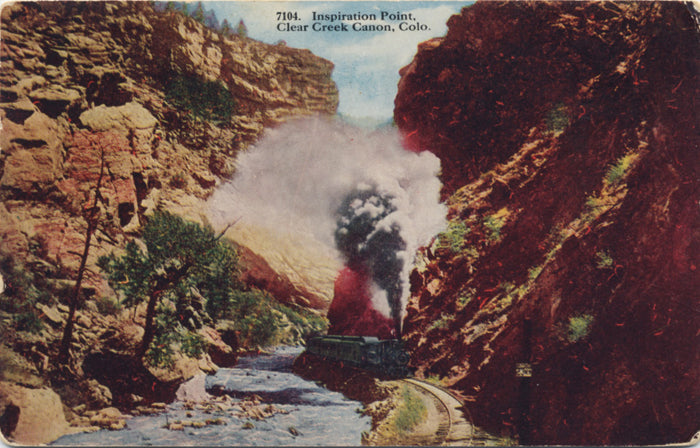 Clear Creek Canon Colorado Inspiration Point Railway Vintage Postcard 1917 - Vintage Postcard Boutique