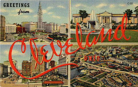 Cleveland Ohio Large Letter Multi View Vintage Postcard (unused) - Vintage Postcard Boutique