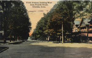Clinton Iowa Fifth Avenue from Fourth St. Vintage Postcard 1912 - Vintage Postcard Boutique