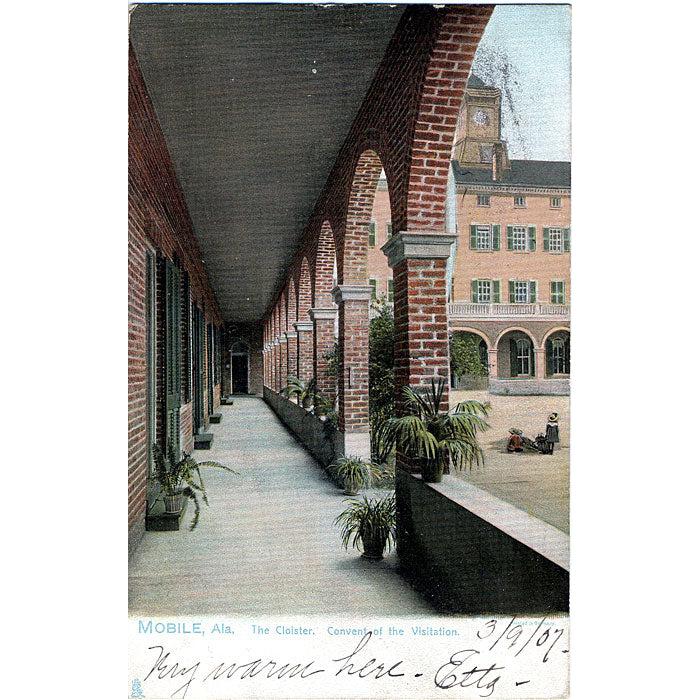 Mobile Alabama The Cloister Convent of Visitation Vintage Postcard 1907 - Vintage Postcard Boutique