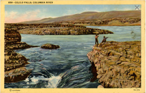 Columbia River Oregon Celilo Falls Tribal Fishing Area Vintage Postcard (unused) - Vintage Postcard Boutique