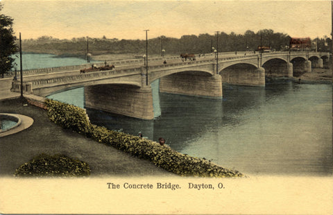 Dayton Ohio Concrete Bridge Miami River Horse Buggy Vintage Postcard circa 1900s (unused) - Vintage Postcard Boutique