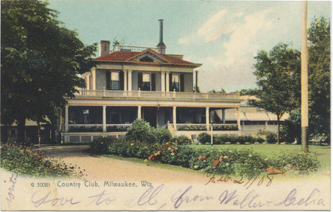 Milwaukee Wisconsin Country Club Vintage Postcard 1908 - Vintage Postcard Boutique