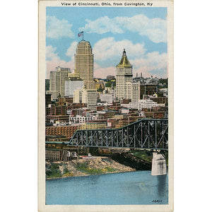 Cincinnati Ohio Skyline Ohio River Vintage Postcard 1930s (unused) - Vintage Postcard Boutique
