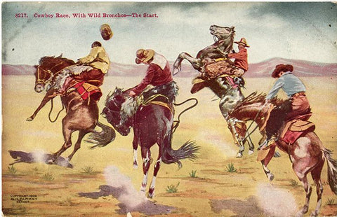 Vintage Western Postcard – Cowboy Race with Wild Broncos (unused) 1905 - Vintage Postcard Boutique