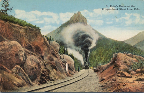 St. Peter's Dome Cripple Creek Short Line RR Colorado Vintage Postcard (unused) - Vintage Postcard Boutique