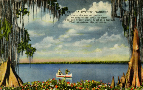 Canoeing in Cypress Gardens Florida Vintage Postcard (unused) - Vintage Postcard Boutique