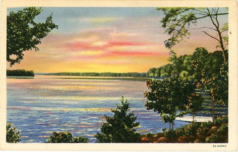 Lake Catawba North Carolina Sunset Vintage Postcard 1945 - Vintage Postcard Boutique