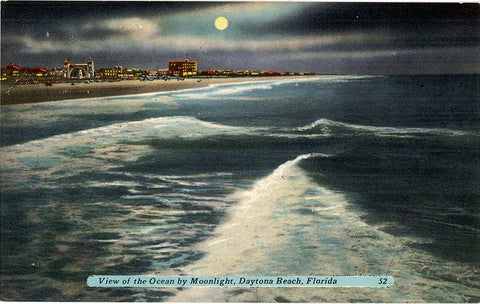 Daytona Beach Florida by Moonlight Vintage Postcard (unused)