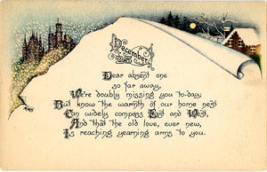 Christmas Snow Scene December 25 Greetings Vintage Postcard ca 1910 SIGNED MMS (unused) - Vintage Postcard Boutique
