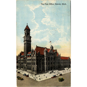 Detroit Michigan Post Office Vintage Postcard 1913 - Vintage Postcard Boutique