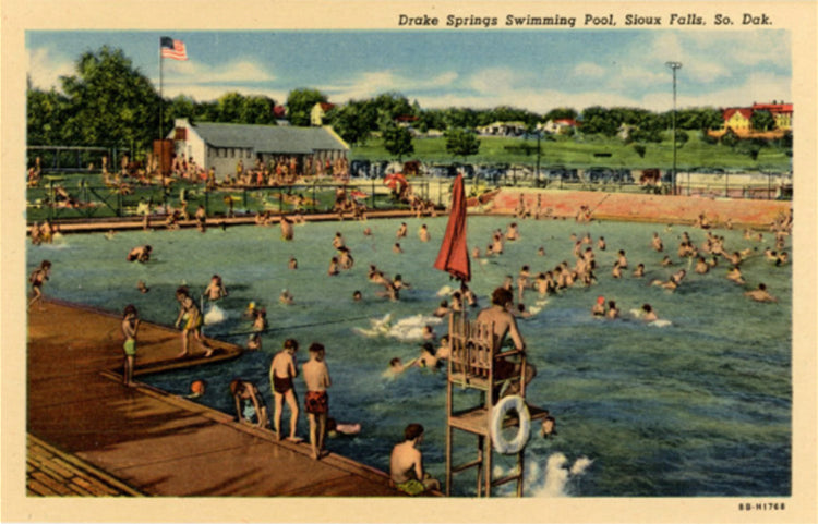 Sioux Falls South Dakota Drake Springs Swimming Pool Vintage Postcard (unused) - Vintage Postcard Boutique
