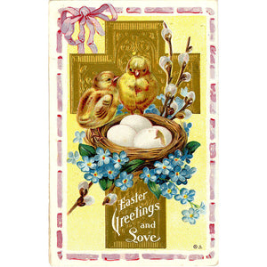 Chicks & Cross Easter Greetings Vintage Postcard Embossed 1911 - Vintage Postcard Boutique