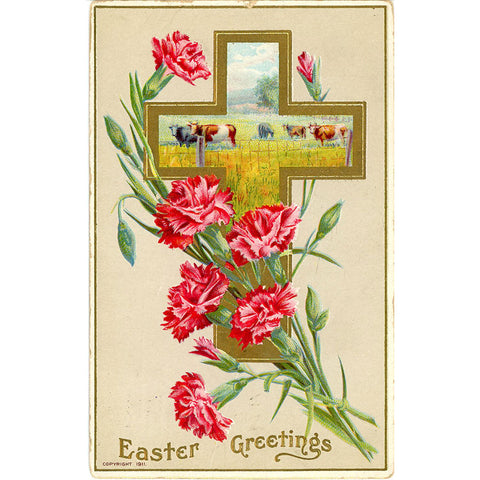 Easter Greetings Carnations Cows in Cross Vintage Postcard Embossed 1911 - Vintage Postcard Boutique