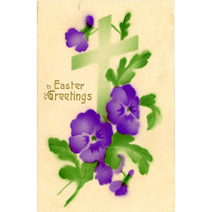Easter Greetings Purple Pansies Watercolor Vintage Postcard Embossed 1913 - Vintage Postcard Boutique