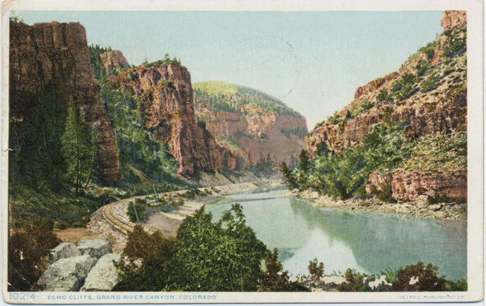 Grand River Canyon Echo Cliffs Railway Colorado Vintage Postcard 1909 - Vintage Postcard Boutique