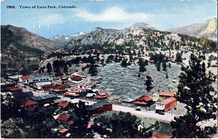 Estes Park Colorado Long's Peak Town Aerial Overview Vintage Postcard (unused) - Vintage Postcard Boutique