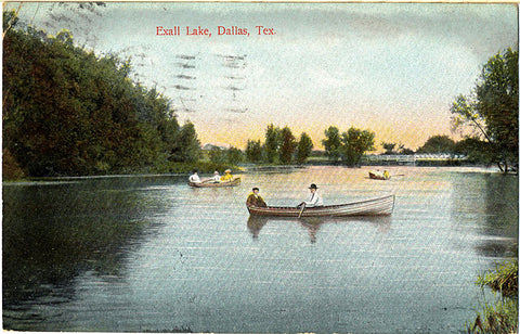 Dallas Texas Exall Lake Boating Scene Vintage Postcard 1908 - Vintage Postcard Boutique
