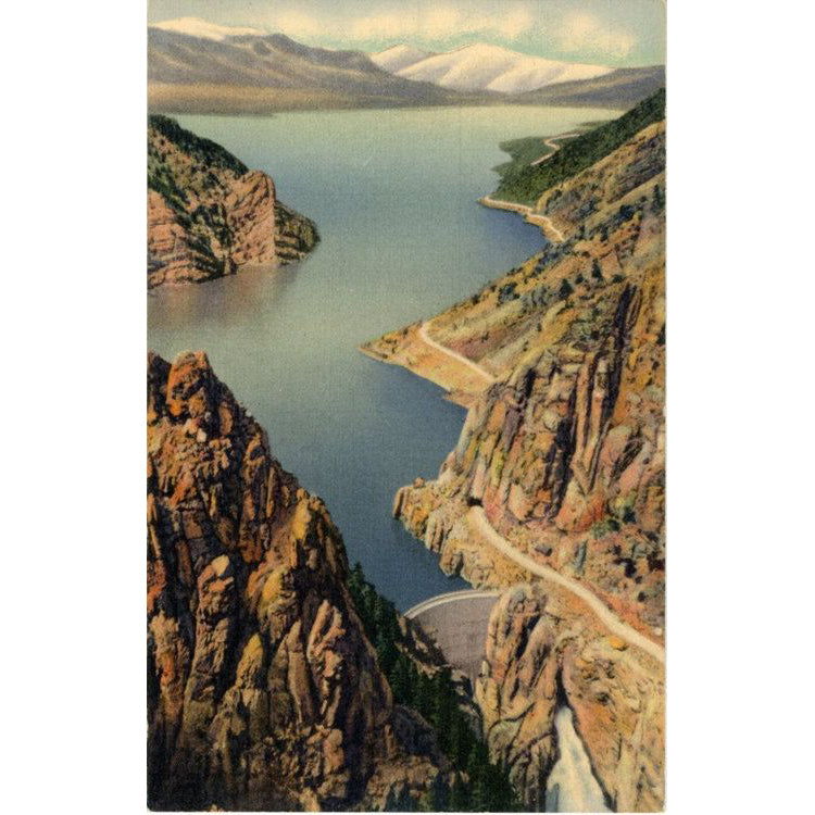 Yellowstone National Park Wyoming Shoshone Dam & Lake on Cody Road Eastern Entrance Vintage Postcard (unused) - Vintage Postcard Boutique