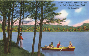 Fairy Stone State Park Virginia 'Water Sports on Lake' Boating Fishing Vintage Postcard - Vintage Postcard Boutique