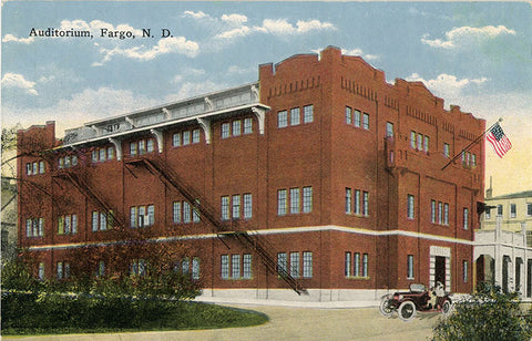 Fargo North Dakota Auditorium Postcard circa 1910 (unused)