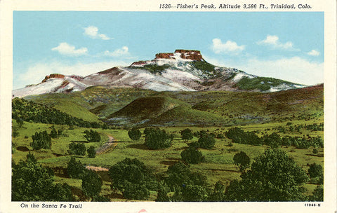 Trinidad Colorado Fisher's Peak on Santa Fe Trail Vintage Colorado Postcard (unused)