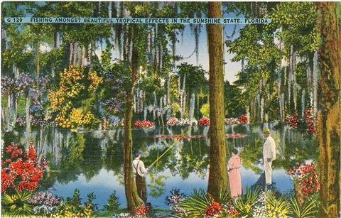 Fishing Amongst Tropical Plants in Sunshine State Florida Vintage Postcard (unused) - Vintage Postcard Boutique