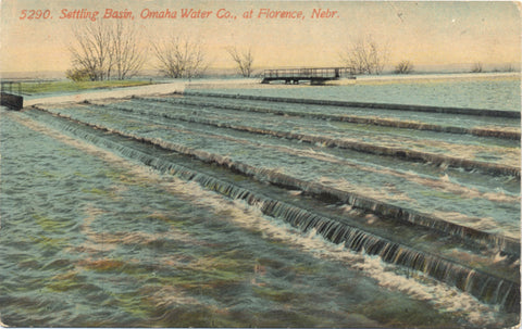 Florence Nebraska Omaha Water Co. Settling Basin Vintage Postcard (unused) - Vintage Postcard Boutique