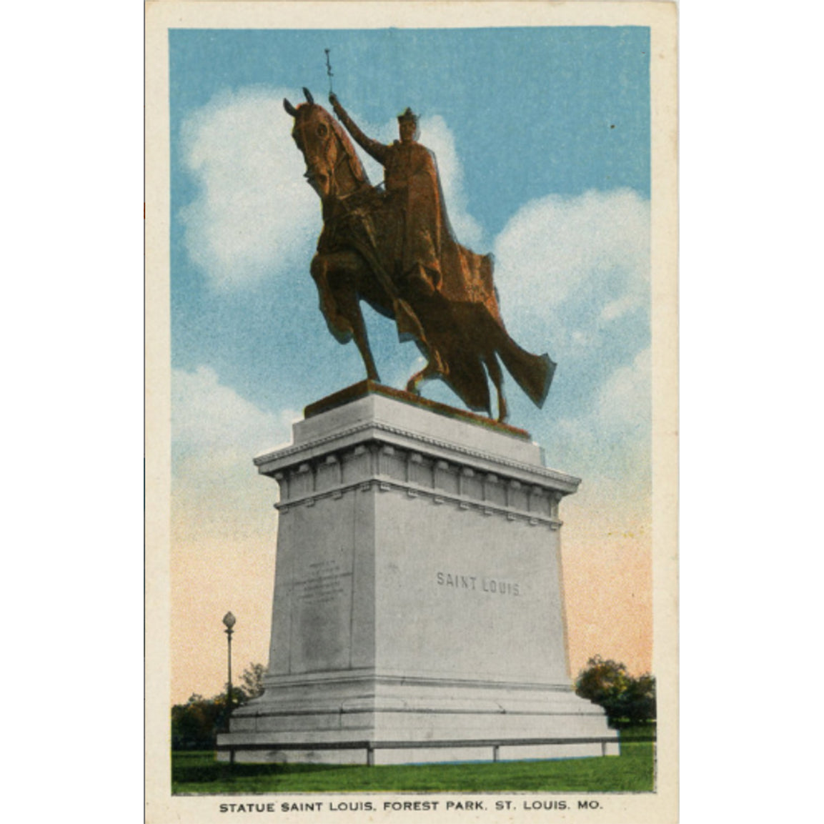 St. Louis Missouri Forest Park Statue French King Louis IX Vintage Postcard 1917 - Vintage Postcard Boutique