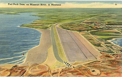 Fort Peck Dam on Missouri River Northeast Montana near Glasgow Vintage Postcard (unused) - Vintage Postcard Boutique