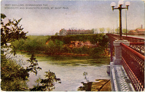 Saint Paul Minnesota Fort Snelling Mississippi River Vintage Postcard circa 1910 (unused)