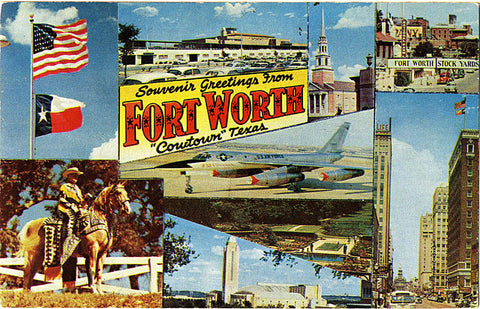 Fort Worth Texas Cowtown Greetings Vintage Postcard 1959 - Vintage Postcard Boutique