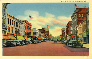 Galesburg Illinois East Main Street 1940s Vintage Postcard (unused) - Vintage Postcard Boutique