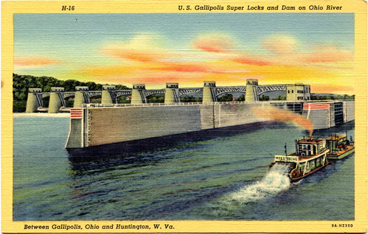 Gallipolis Super Locks & Dam on Ohio River Vintage Postcard (unused) - Vintage Postcard Boutique
