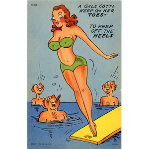 Women in Bikini on Diving Board Vintage Comic Postcard (unused)