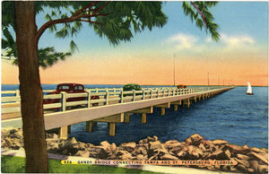 Gandy Bridge Connecting St. Petersburg and Tampa Florida Vintage Postcard (unused) - Vintage Postcard Boutique