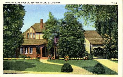 Actor Gary Cooper Beverly Hills California Home Vintage Postcard circa 1930s (unused) - Vintage Postcard Boutique