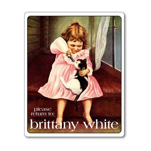 Personalized Vintage Bookplates - Little Girl Feeding Kitten - Baby Shower Gift - Vintage Postcard Boutique
