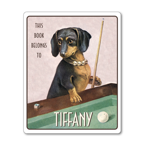 Glamorous Dachshund Playing Billiards Personalized Vintage Bookplates - Vintage Postcard Boutique