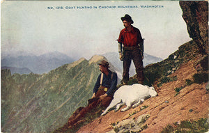 Goat Hunting Cascade Mountains Washington Vintage Postcard circa 1910 (unused)