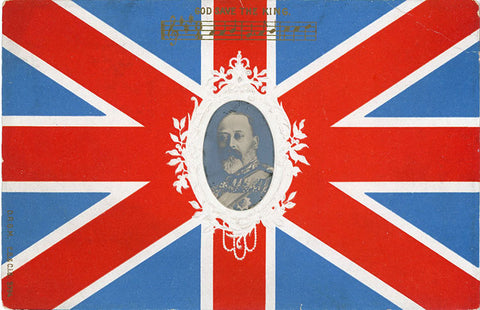British Union Jack Flag - God Save the King RPPC Patriotic Vintage Embossed Postcard c. 1905 - Vintage Postcard Boutique