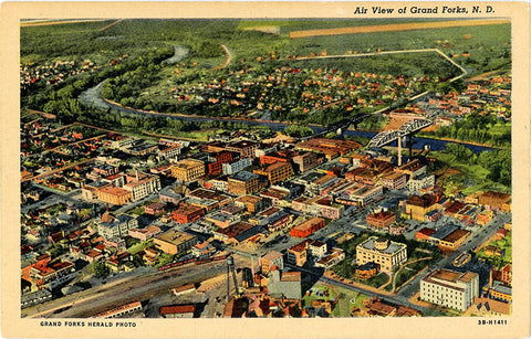 Grand Forks North Dakota Aerial View Vintage Postcard (unused) - Vintage Postcard Boutique