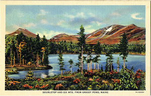 Doubletop and Oji Mts. Maine from Grassy Pond Vintage Postcard (unused) - Vintage Postcard Boutique