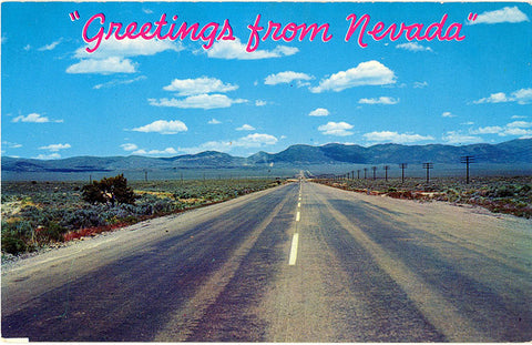 Nevada Highways & Deserts Vintage Postcard 1950s (unused)