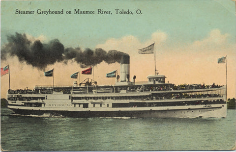 Steamer Greyhound Maumee River Toledo Ohio Vintage Postcard - Vintage Postcard Boutique